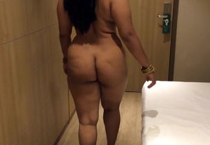 Plump desi wifey ambling bedroom nude